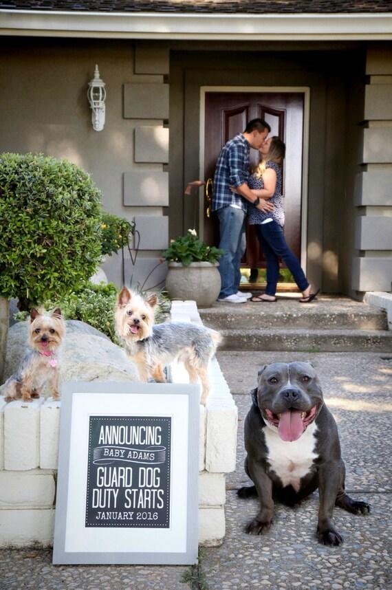 Guard Dog Duty Chalkboard Pregnancy Announcement Photo