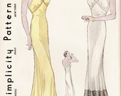1930s 30s vintage lingerie sewing pattern Plunging Back Slip Dress with Flounce Hem bust 34 repro reproduction