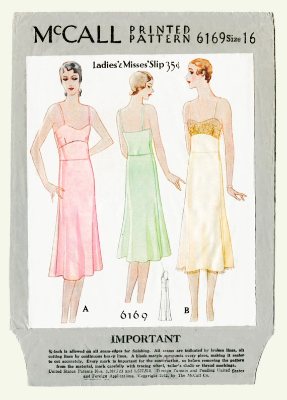 1920s Patterns – Vintage, Reproduction Sewing Patterns 1920s 20s vintage McCall sewing pattern lingerie lace slip negligee bust 34 b34 no. 6169 repro $18.50 AT vintagedancer.com
