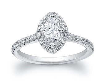 Marquise Diamond Halo Semi Mount Engagement Ring (No Center)
