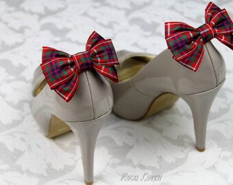 Fraser Tartan Bows, Frazer Tartan Bow Shoe Clips, Red Plaid Shoe Bows, Fraser Plaid Shoe Clip