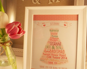 Personalised Love Letter Art - Bridesmaids, Flower Girls, Page Boys etc