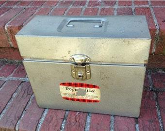 Industrial Hammered Grey Baked Enamel Metal Porta File Box - Vintage Hamilton Skotch Corporation