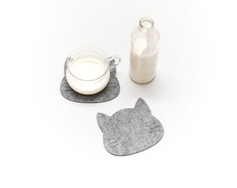Felt Coasters / Cats / Set of 4 Coasters / Set of 6 Coasters / White Coasters / Black  Coasters / Gray Coasters