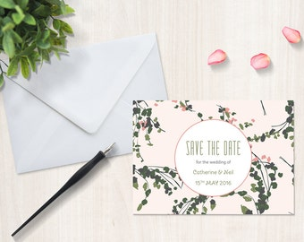Vintage floral wedding save the date card, printed pink and green custom invitation