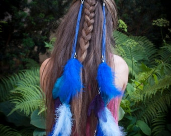 Blue, navy and purple feather extention