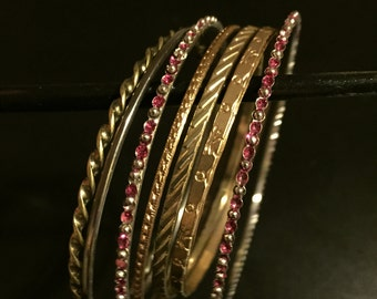 Vintage Gold and Jeweled Bangles