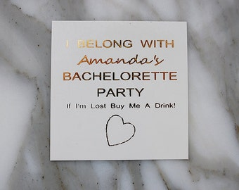 Gold Tattoos, Wedding Party Favors, 10 Custom Gold Bachelorette Party Metallic Temporary Tattoos, Bridal Party Wedding Favors