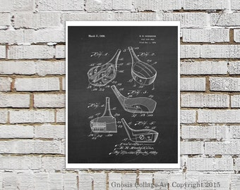 Golf Club Poster Print #10 Black And White Wall Art, Chalkboard Art Print, Part 20