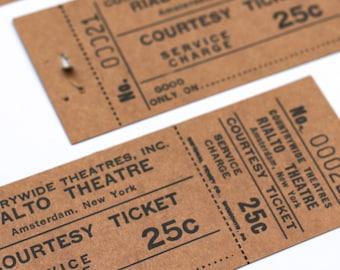 2 x Vintage Movie Tickets Rialto Theater New York Amsterdam Junk Journal DeStash Paper Lot Supplies, Altered Art, Scrapbooking