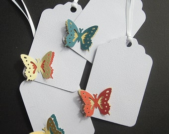 Gift Tags - Butterfly - Two-Tone, 3D -Turquoise - Orange - Yellow on White - Large Size - Set of 4