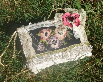 French Purse, fringes, vintage flowers, pearl,crystals, BoutonRose, fairy, Vintage Embroidery,Beaded,Bohemian Bag, Gypsy, Boho,Clutch Bag