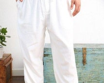 Lounge Pants - White | light, loose fitting and exceptionally soft men's pyjama bottoms, 100% cotton | Khasto - the cotton cashmere