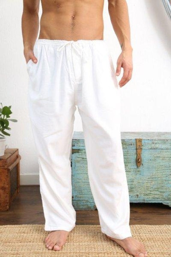 Lounge Pants White Light Loose Fitting And Exceptionally