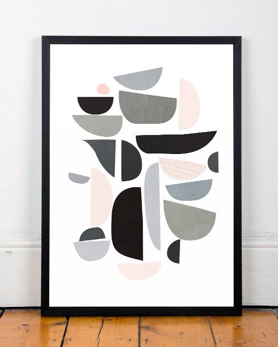 mid century modern abstract print modern by shoptempsmodernes. Black Bedroom Furniture Sets. Home Design Ideas