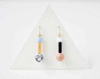Memphis minimalist earrings 22k gold hoops Gemstones jewelry Anti allergy earrings Nickel free jewelry