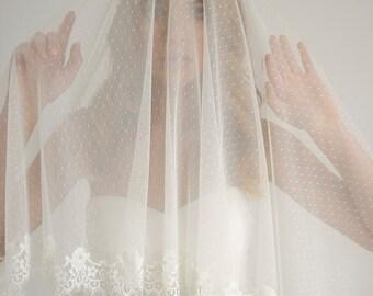 Dotted lace trim fingertip wedding veil, polka dot wedding veil with blusher, lace wedding veil, drop veil, Elise - Style V03