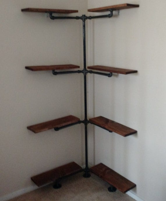 Industrial Iron Pipe Corner Shelf by EngravingEclectic on Etsy