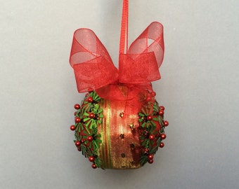 Red & Chartreuse Green Sequin Christmas Ornament