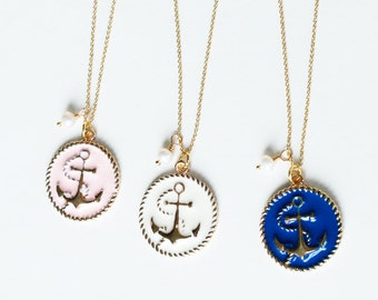 Graduation Bracelet, Anchor Friendship Bracelet, 14K Gold Plated chain, Bridesmaids Bracelet Gift, White Pearl Bracelet wedding jewelry
