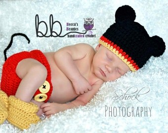 Newborn Mickey Mouse set - crochet - made to order