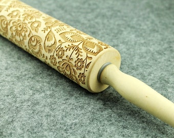 Floral Pattern Embossing Rolling Pin, Wood Rolling Pin, Custom Accepted - by Melodywoodart