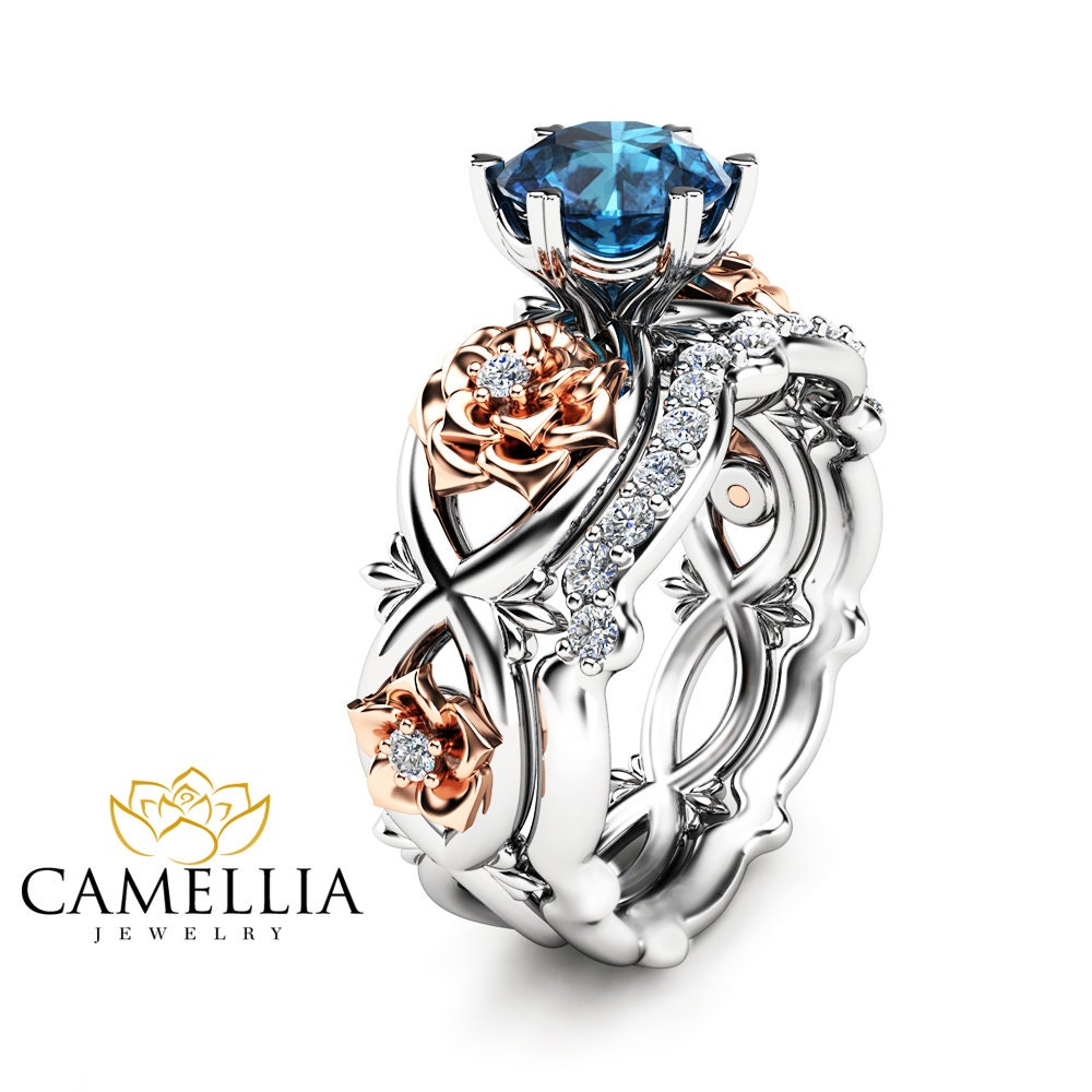 14k White Gold Floral Wedding Ring Bridal Set 1ct Blue Topaz
