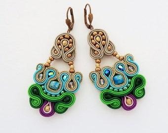 Long soutache earrings with jaspers