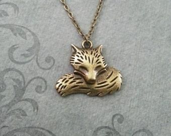 Fox Necklace Bronze Fox Jewelry Brass Fox Pendant Necklace Fox Charm Necklace Animal Jewelry Bridesmaid Necklace Fox Gift Animal Necklace