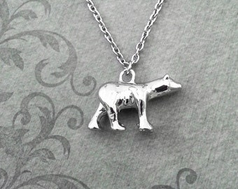 Polar Bear Necklace VERY SMALL Silver Polar Bear Charm Necklace Polar Bear Jewelry Bear Pendant North Pole Gift Arctic Gift Animal Necklace