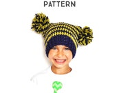 Crochet Pattern The Square Pom Pom Hat - Newborn, Toddler, Child & Adult Sizes, chunky, winter, pom-pom, all sizes, hipster, photo tutorial