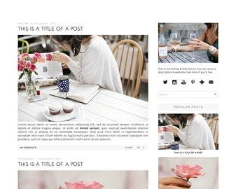 Premade Blogger Template - Instant Download - Willow & Oak - Blogger Template - blogger theme - blog design - blogger blog template