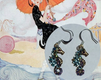 Earrings with Seahorse Charms with Aurora Borealis Crystals