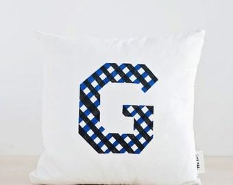 Personalized Pillow Cover, Geometric Design, Minimalist Throw Pillow, Decorative Cushion, Letter Decor, Black Blue Pillow, White Pillow