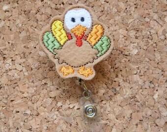 TURKEY Badge Reel | Thanksgiving Badge Reel | Felt Badge Reel | Retractable Name Holder | Nurse / Teachers / Office Workers | 405