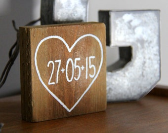 Small Heart with Custom Date Reclaimed Pallet Wood Sign