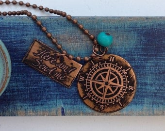 Copper Etched Compass/Here am I Send Me Necklace