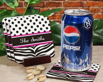 Zebra Print Drink Coasters , Personalized Coaster Set