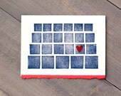 Art card, Long distance, Love card, New relationship, Online dating, Heart card, Handmade card, Block print, Blue and red, Blank