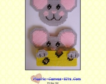 Mouse and Cheese Coaster Set-Plastic Canvas Pattern-PDF Download
