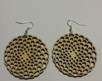 Laser cut wood earrings, 100 hole design(not really 100 holes).dangle earrings.