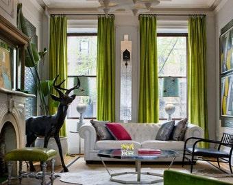 LIME GREEN SILK Curtain, Dupioni Silk, Window Dressing, Draping, Home Decor,