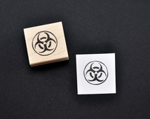 Radioactive Symbol Stamp, Hand carved rubber stamp