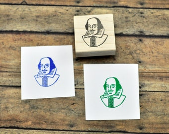 Shakespeare Portrait Stamp, Hand Carved Rubber stamp