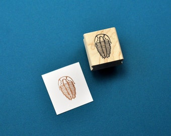 Trilobite Fossil Stamp, Hand Carved Rubber Stamp