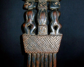 Ashanti Akan Ghana Tribal Figural Wood Decorative Hair Comb Wedding Adornment Hand Carved African *1