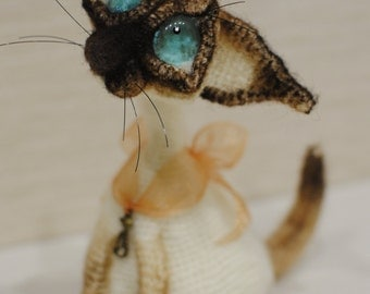 SALE ! Sad Cat - Hand-Knitted Toys - Funny Gift Cat - Siamese cat Peterbald