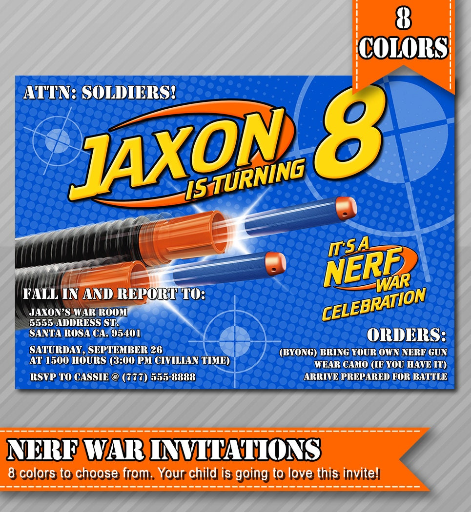 Gutsy image throughout free printable nerf birthday invitations