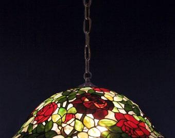 Tiffany Rosebush lamp. Rose helmet pendant table lamp. 22 inch rosebush Tiffany lamp. Red roses lamp. Unique stained glass lamp.