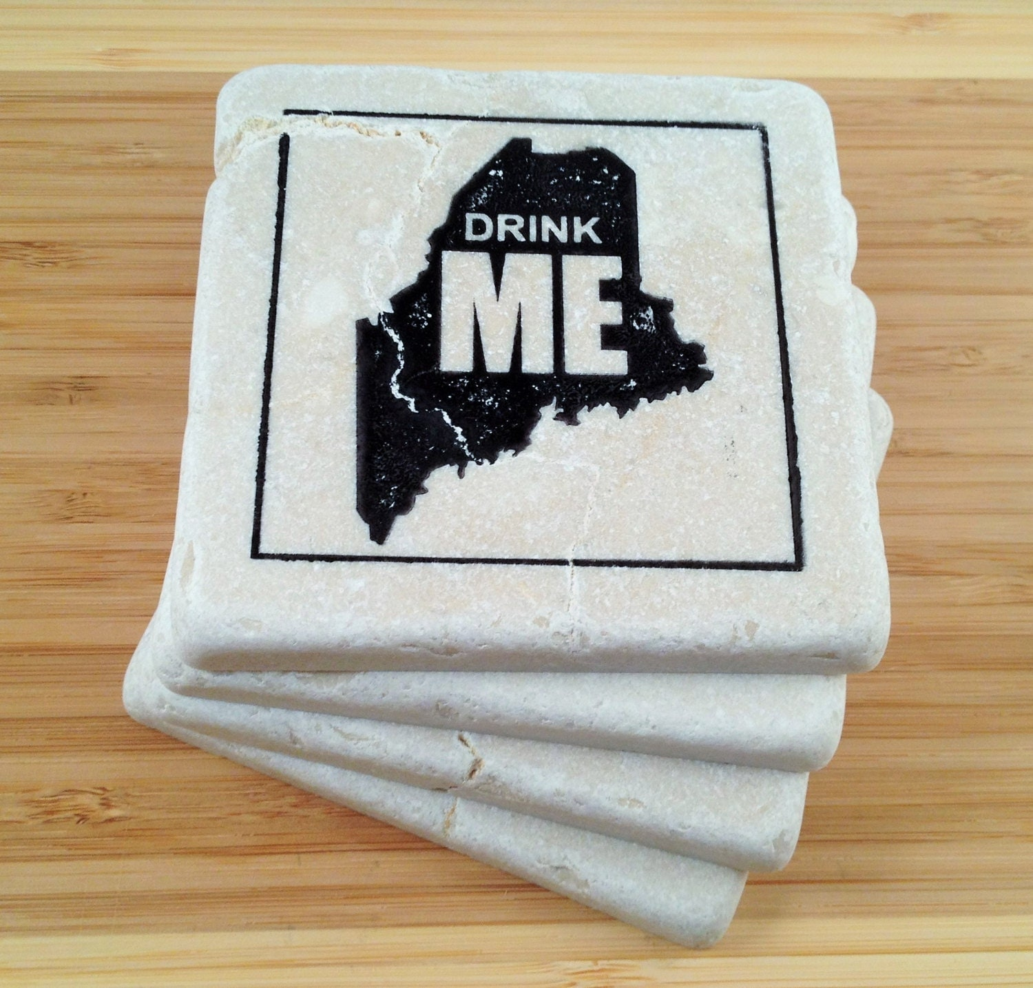 Drink Me Maine Stone Coaster Set 4 Natural By Mountainstonecreek